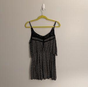 UO Ecote Lace Strap Geometric Print Mini Dress